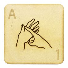 Fingerspelling Scrabble Tiles - 75mm large deaf alphabet tiles 3mm MDF wood